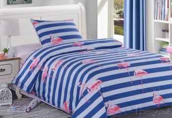Постельное белье Фламинго (синий)