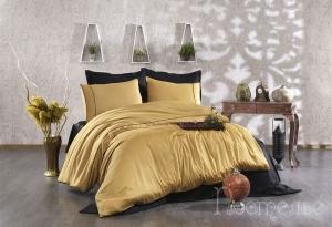 Элитное постельное белье ALIX (горчичный/черный)