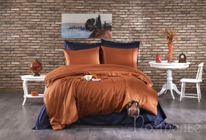Элитное постельное белье ALIX (кирпичный/тёмно-синий)