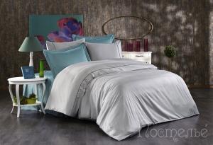 Элитное постельное белье ALIX (серый/голубой)