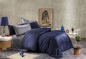 Элитное постельное белье ALIX (тёмно-синий/антрацит)