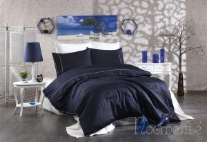 Элитное постельное белье ALIX (тёмно-синий/кремовый)