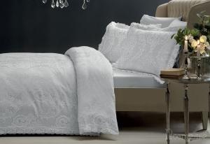 Элитное постельное белье FAUSTA (серый) с кружевом
