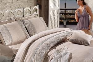 Элитное постельное белье GLORIYA (беж) с кружевом
