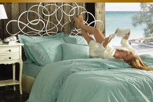 Элитное постельное белье HELENA (бирюза) с кружевом