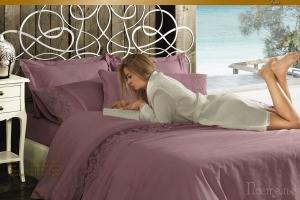 Элитное постельное белье HELENA (фиол) с кружевом