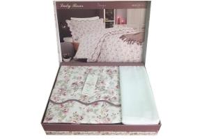 Элитное постельное белье LADY ROSES (белый)
