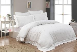 Элитное постельное белье LES COUERS (гр-роз) с вышивкой