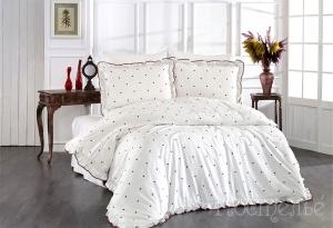 Элитное постельное белье LOVENA (кремовый/красный)