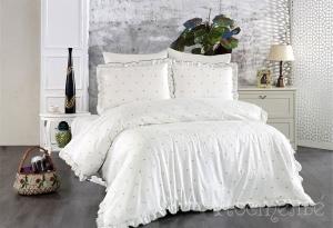 Элитное постельное белье LOVENA (кремовый/зеленый)