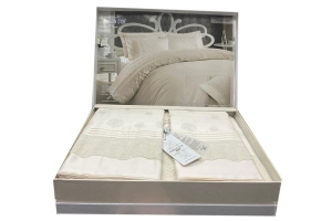 Элитное постельное белье ROESIA (крем) с кружевом