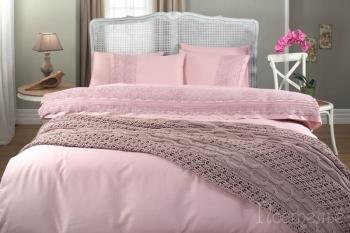 Набор с пледом Selin розовый (7 предметов)